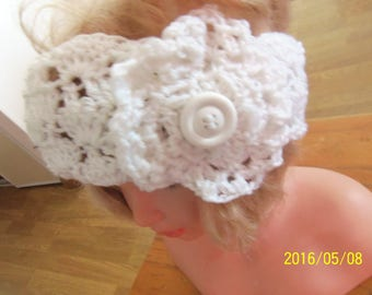 White headband with flower, knitted wool