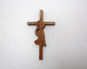 Cross with a Boy Praying