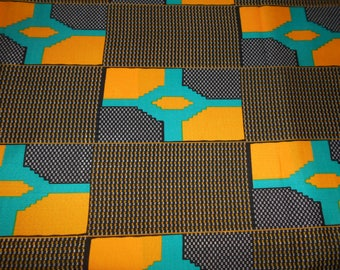 "Polyester wax fabric African pattern ""kente"" coupon 45 cm x 116cm"