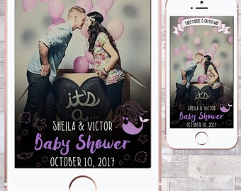 Mermaid Baby Shower Snapchat Filter, Baby Shower Snapchat Filter, Mermaid Snapchat Filter, Custom Baby Shower Snapchat Filter, Mermaid Theme