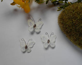 White Butterfly and rhinestones - 2.5 cm - white and silver - sold individually