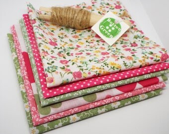 Ditsy Floral Pink and Green Bundle poly cotton fabric x6, fat quarters, 25cm x 25cm