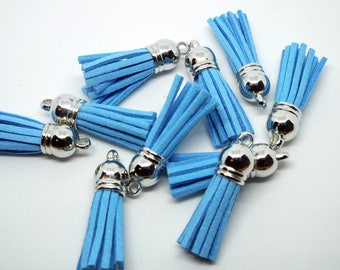 Small Sky Blue Suede Tassel Charm 38mm Pack of 5