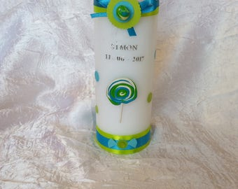 Themed treats for baptism candle