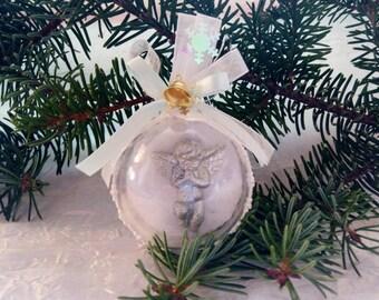 """Hanging """"Silver Angel"""" Christmas ball"""