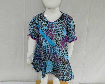 One size dress No. 22 with zipper and blue lace baby girl 0 to 18 months
