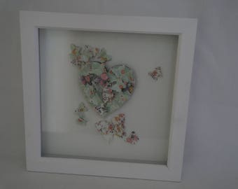 SALE. Butterflies and Heart in a White Frame.