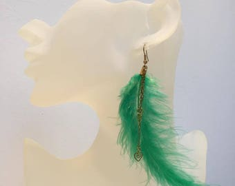 """Green"" Feather gold earrings"