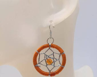 Orange dream catcher earrings