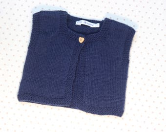 Navy Blue pure wool small Cardigan.
