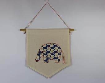 Banner elephant for the decoration of a baby or child's room.