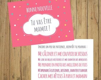 Card announcement to Grandma pregnancy, birth
