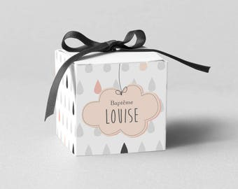 box dragees small cloud Pastel, grey/pink coral - model Louise