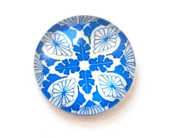 Set of 2 flowers (20 mm) glass cabochon
