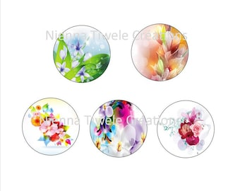 """50 digital picture to print """"Flower"""" 25mm, 20mm, 18x25mm,12mm"""