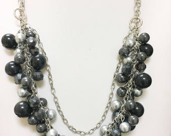 Multi bead bib necklace
