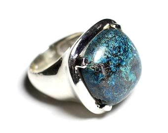 N110 - ring 925 sterling silver and semi precious stone - 18mm square Azurite