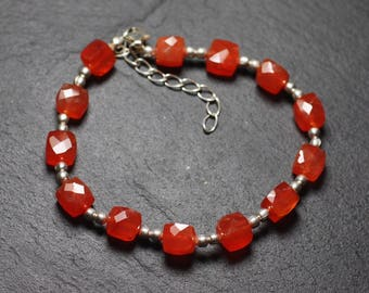 Bracelet 925 sterling silver and stone - carnelian Cubes faceted 5-6mm