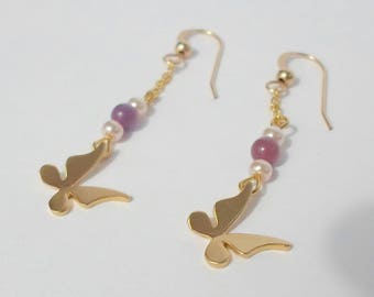Gold plated hook earrings with butterfly pendant and chain
