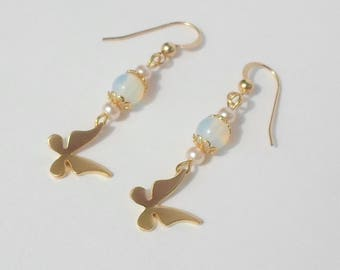 Butterfly and Moonstone pendant gold plated hook earrings