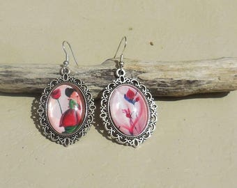 Mismatched earrings, glass cabochon earrings