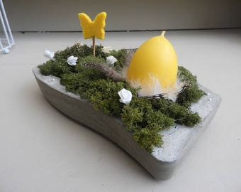Raw concrete candle holder * Easter table decoration