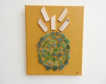 Canvas 3D pineapple * polished glass and wood