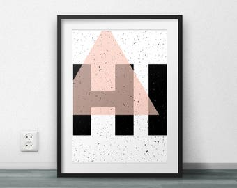 Hi, Geometric Design, Printable Poster, Modern Wall Art, Home Decor, Wall Art, Large size, Resizable, Fashion, Trending, Triangle, Pattern