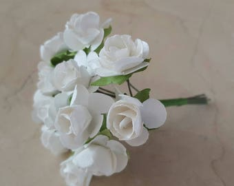Set of 2 small bunches of 12 white flowers