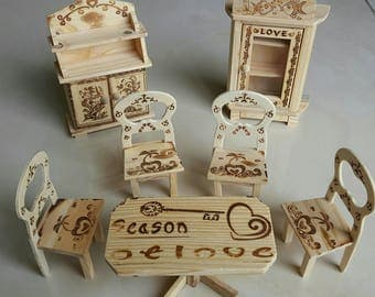 Set of 7 pieces hand crafted wooden doll house furniture