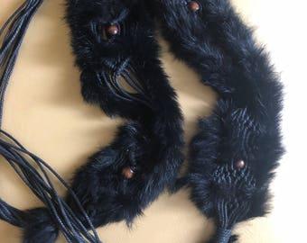 Belt real rabbit fur