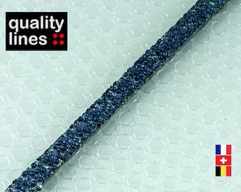 X 1 M, 5mm flat 2 mm blue caviar leather by the yard