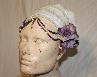 White and lavender head piece