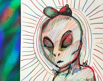 Alien in Rainbow Pencil Original Drawing