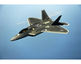 F-22 Raptor Prowling Over Water - Military Jet Photo Print - Plane Poster Print - Wall Art