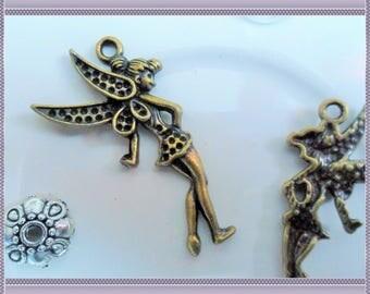 Fairy pendant charm - Tibetan silver - 35mm