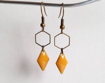 Earrings - Hexagon - mustard yellow