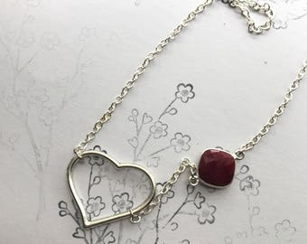 Ruby and Silver Heart Necklace