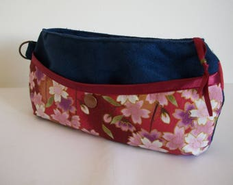 Print and Navy Blue Suede clutch bag pink and white cherry blossom