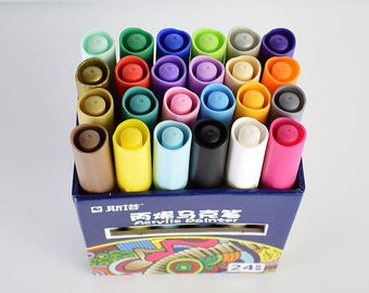 24 acrylic paint markers painting pens crafts medium tip