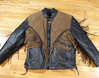 Vintage Hudson Fringe Leather Jacket, biker jacket, western jacket, brown and black, size large