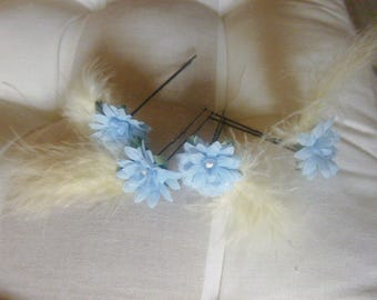 4 blue flowers, yellow feathers, straw-wedding, bridemaids hair picks.