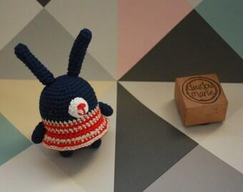 """""""Little bunny'"""" 100% cotton Crochet Amigurumi rattle toy"""