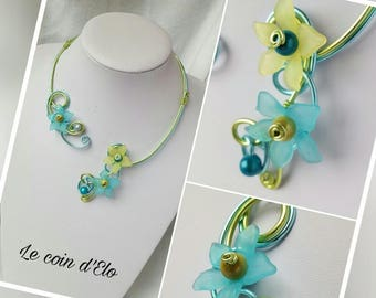 Necklace blue aluminum ice and lime green / green and blue flower jewelry / gift for her / wedding necklace / jewelry aluminum wire