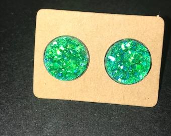 12mm Bright Green druzy earrings