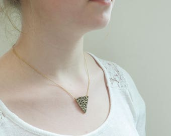 Bronze necklace Choker - gold plated - Triangle - home made