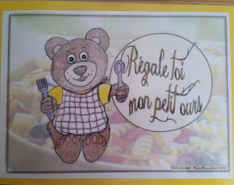 Laminated placemat child small size Teddy bear