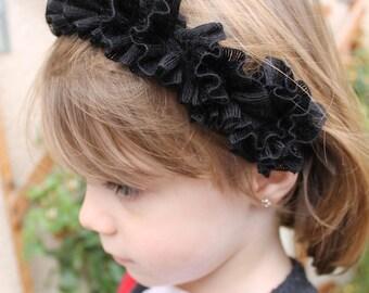 black hair girl headband