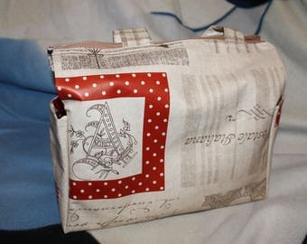 """Bag lunch in beige oilcloth """"A"""" red frame"""