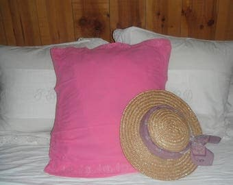 Stained antique pillow cover in pink